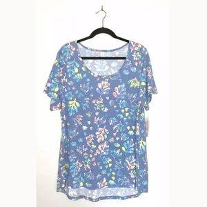 Lularoe NWT Plus Sz 2X Blue Floral Classic T Shirt